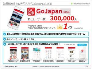 フルスピード訪日観光客向け専用アプリ「GoJapan(去日本)」