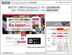 フルスピードTOPICS「GoJapan(去日本」事業展開