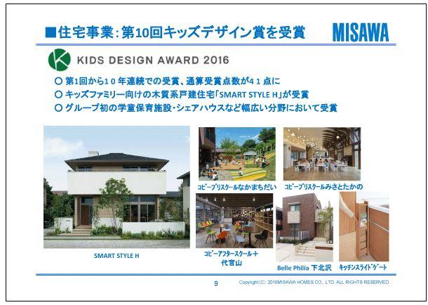 ミサワホーム住宅事業:第10回キッズデザイン賞を受賞