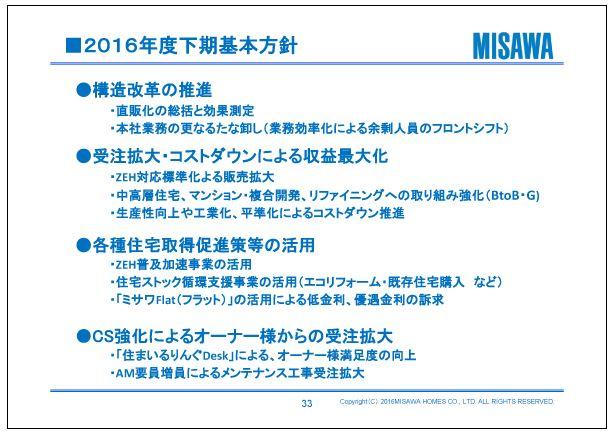 ミサワホーム2016年度下期基本方針