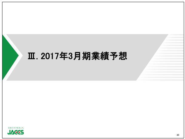 ジャックスⅢ.2017年3月期業績予想