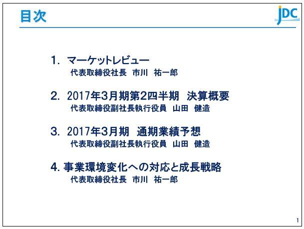 日本海洋掘削2017年3月期-第2四半期決算説明会アジェンダ