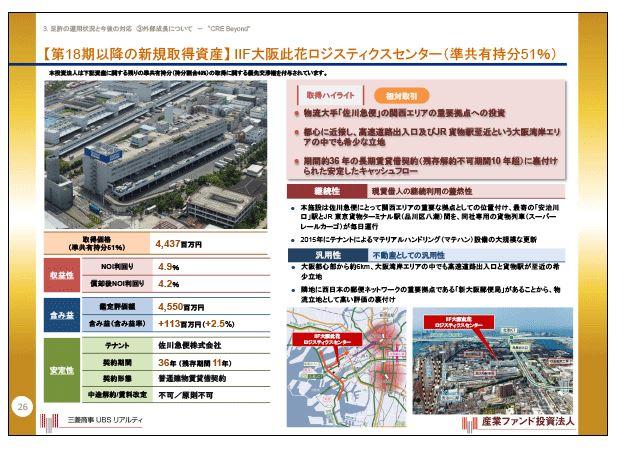 産業ファンド【第18期以降の新規取得資産】IIF大阪此花ロジスティクスセンター(準共有持分51%)