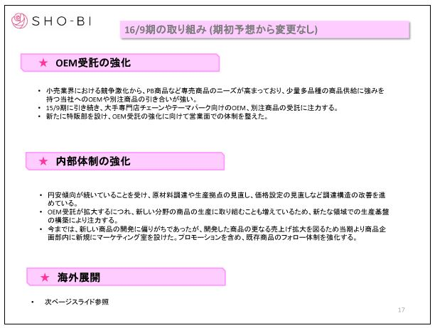SHO-BI16-9期の取り組み②(期初予想から変更なし)