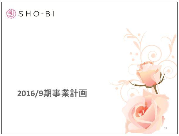 SHO-BI2016年9月期事業計画