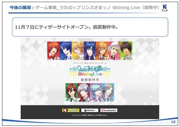 KLab今後の展開:ゲーム事業_うたの☆プリンスさまっ♪Shining-Live(開発中)