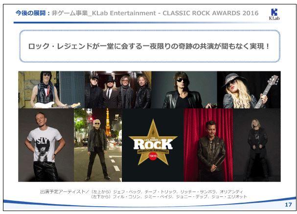 KLab今後の展開:非ゲーム事業_KLab-Entertainment-CLASSIC-ROCK-AWARDS-2016