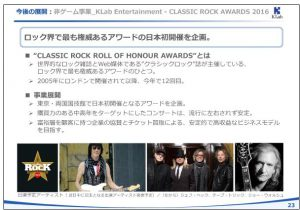 KLab今後の展開:非ゲーム事業_KLab-Entertainment-CLASSIC-ROCK-AWARDS-2016